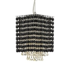 "Modern Contemporary Mini Pendant Chandelier Lighting Geometrics Quantum H 9"" X W 6"" - Dressed with Black Color Crystal!"
