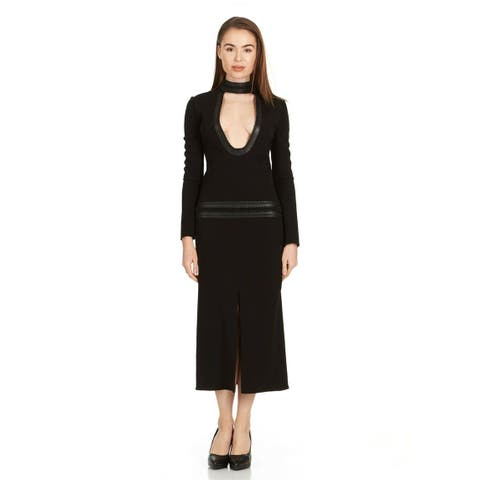 Tom Ford Womens Black Woven Leather Plunging Scoop Neck Dress IT38/US2~RTL$5990 - 2