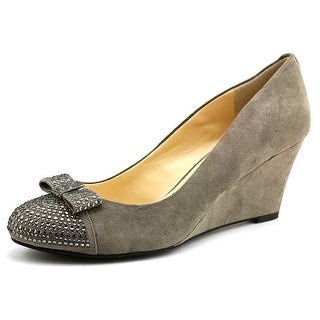 Jessica Simpson Seley Women Open Toe Canvas Gray Wedge Heel