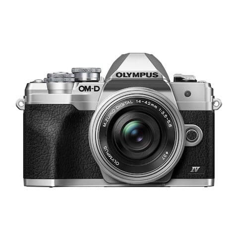 Olympus OM-D E-M10 Mark IV Camera (Silver) & 14-42mm Lens Kit