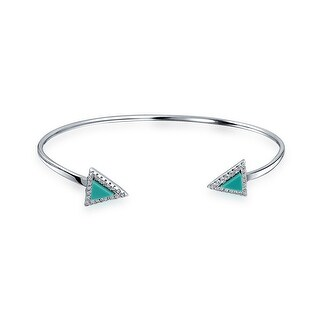 Bling Jewelry Sterling Silver Reconstituted Turquoise CZ Arrow Cuff Bracelet