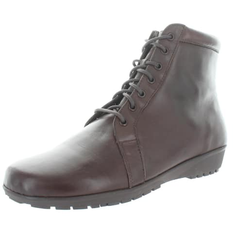 Walking Cradles Womens Ziggy Ankle Boots Leather Lace-Up - Brown Nappa