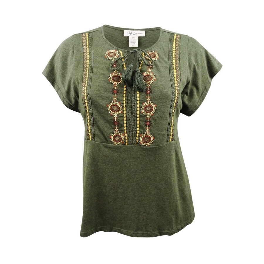 Style & Co. Womens Plus Size Embroidered Peasant Top - Olivia Mirror