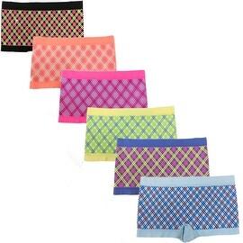 Women's 6 Pack Seamless Multi Color Plaid Print Boyshorts Panties