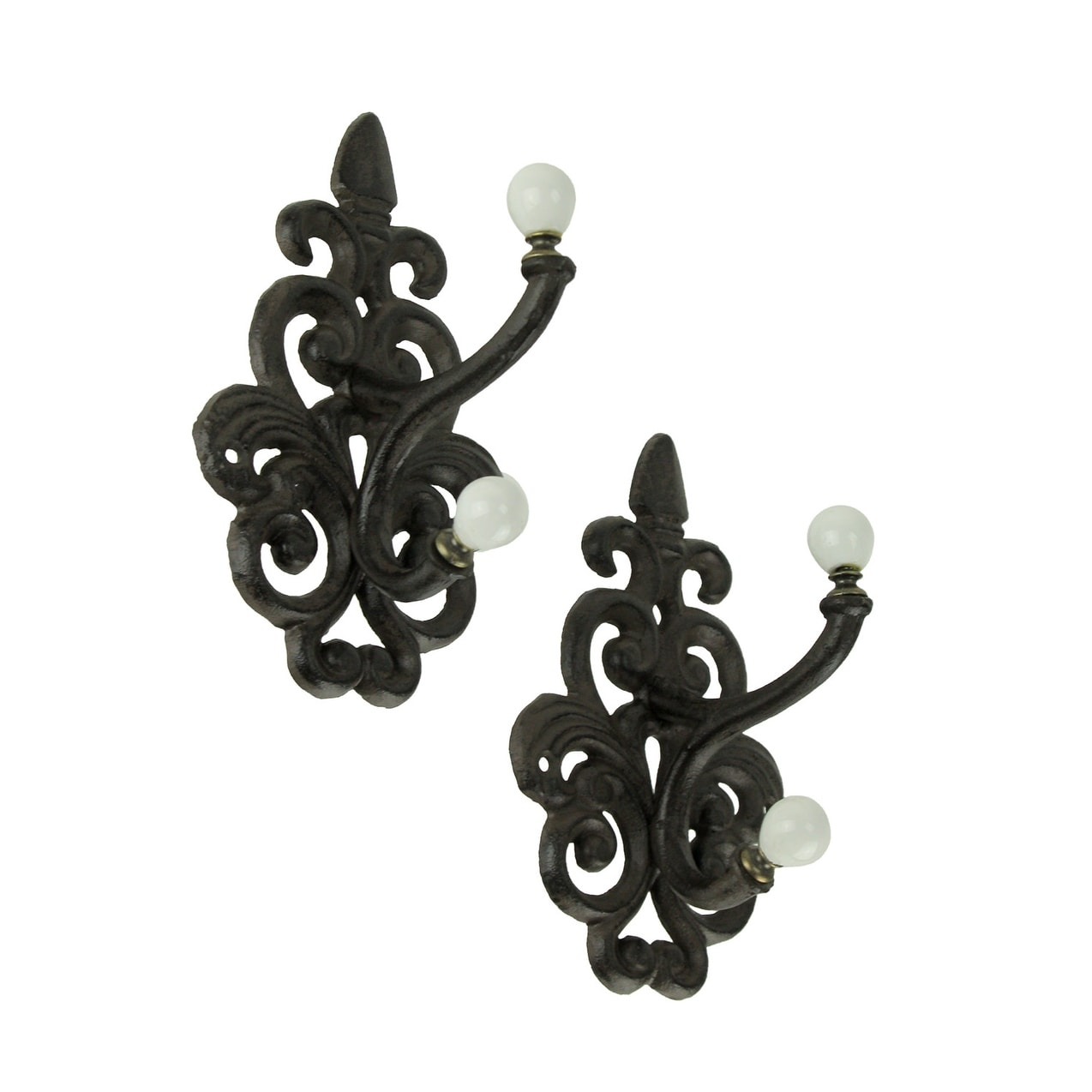 Home Decor 0170-01554 Cast Iron Fleur De Lis Double Wall Hooks Set of Six