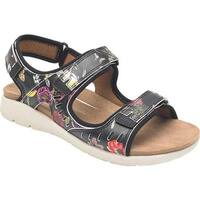 Rockport Women's Eileen 3 Strap Walking Sandal Floral Leather