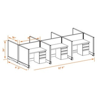 Small Office Cubicles 39H 6pack Cluster Unpowered (3x4 - Espresso Desk White Paint - Assembly Required)