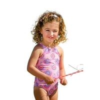 Sun Emporium Little Girls Carnation Pink Cross Over Back Ties Swimsuit