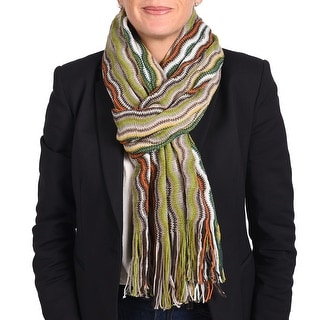 Missoni Women's Classic Zig Zag Knit Scarf Green, Brown and Multi-colors