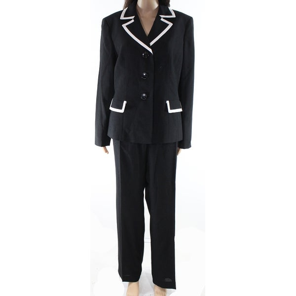 2286720e6 Shop Le Suit Black Womens Size 14 Contrast Trim Three Button Pant Suit -  Free Shipping Today - Overstock - 27031065