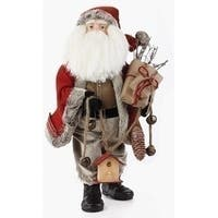 "20"" Traditional Woodland Santa Claus Christmas Figure with Birdhouse and Gifts - RED"