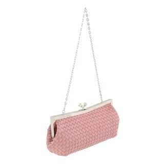 Scheilan  Rose Fabric Weave Knot Clutch/Shoulder Bag - 9-4.5-2