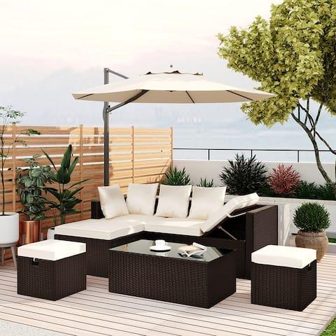 5-Piece Patio Furniture PE Rattan Wicker Sectional Lounger Sofa Set