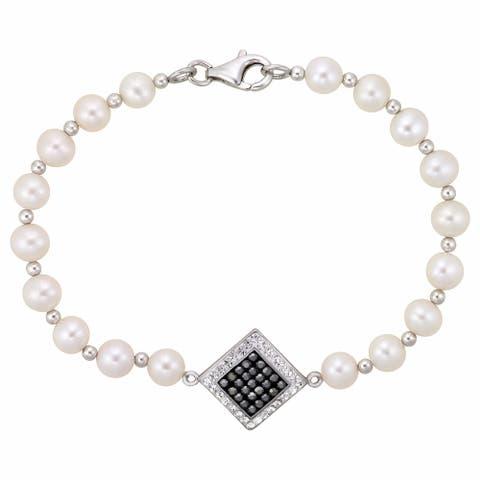 Sterling Silver Fw Pearl Bracelet With Hematite Crystal Centre