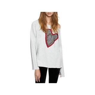 Sanctuary Womens Juniors Heartbreaker Sweatshirt Embellished Off-the-Shoulder