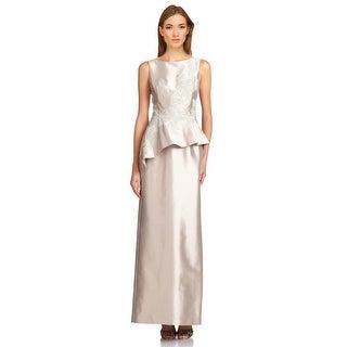 Teri Jon Sleek Lace Satin Peplum Evening Dress Gown - 10