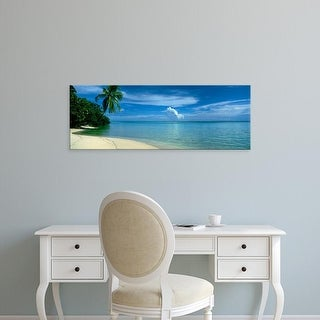 Easy Art Prints Panoramic Images's 'Palm Tree On A Coast, French Polynesia' Premium Canvas Art