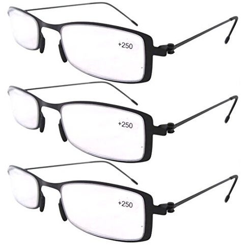 f5adc7611c51 Shop Eyekepper 3-Pack Lightweight Stainless Steel Frame Reading Glasses  Black +1.0 - Free Shipping On Orders Over  45 - Overstock - 15194321