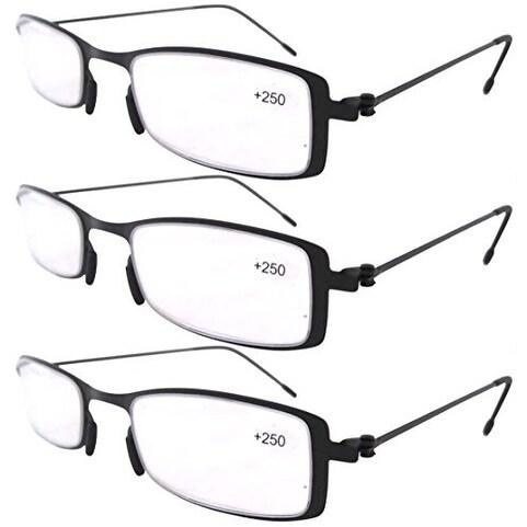 c014e75887e Eyekepper 3-Pack Lightweight Stainless Steel Frame Reading Glasses Black  +2.5