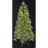 Christmas at Winterland WL-TTR-09-GR/SLV-LWW 9 Foot Tinsel Pre-Lit Christmas Tree Warm White LED Green and Silver