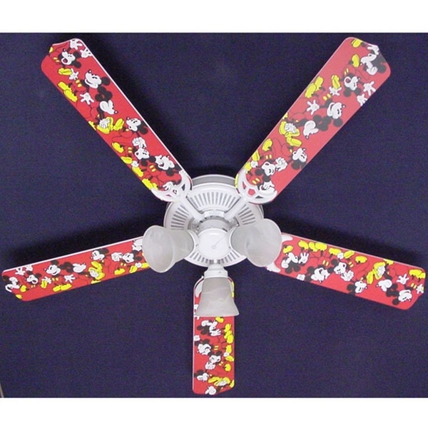 Disney's Red Mickey Mouse Print Blades 52in Ceiling Fan Light Kit - Multi