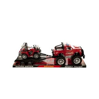 Friction Powered Fire Rescue Trailer Truck with ATV - Pack of 4