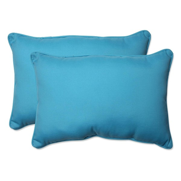 Set of 2 Blue UV/Fade Resistant Rectangular Throw Pillows with Matching Corded Trim 18.5""