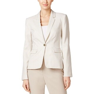 Calvin Klein Womens Petites One-Button Blazer Striped Notch Collar