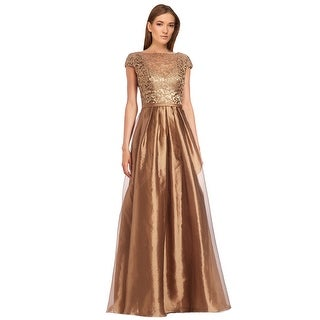 Theia Elegant Lace Top Cap Sleeve Faille Evening Ball Gown Dress - 16