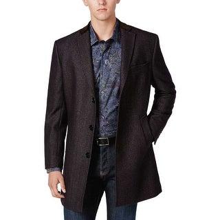 Tallia Orange Label Wool Blend Twill Overcoat Purple Navy Large L