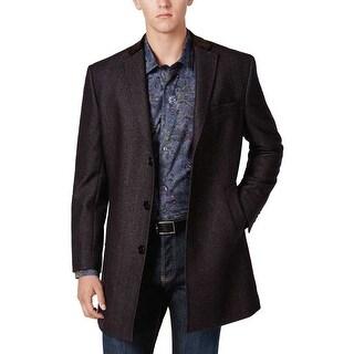 Tallia Orange Label Wool Blend Twill Overcoat Purple Navy Medium M