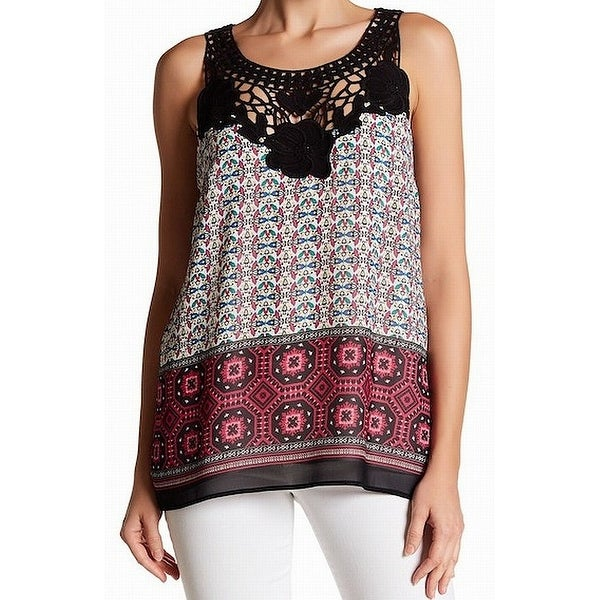 42fb1835b7dfca Shop DR2 Black Womens Size Small S Abstract Print Crochet-Lace Knit Top - Free  Shipping On Orders Over $45 - Overstock - 22436522
