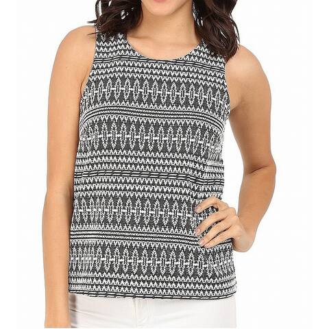 Three Dots Black White Womens Size Medium M Embroidered Tank Top