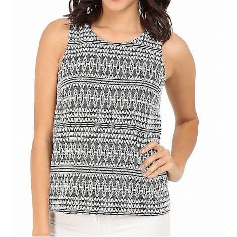 Three Dots Black White Womens Size Small S Jacquard Knit Tank Top