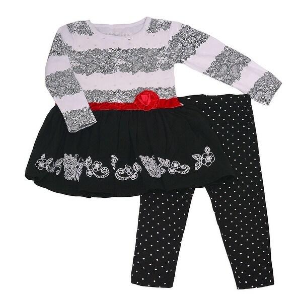 Shop Flapdoodles Little Girls Black Scroll Rosette Accent 2 Pc