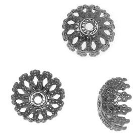 Gun Metal Plated Ornate Filigree Dome Bead Caps - 8mm Diameter (100)