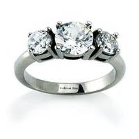 Stainless Steel Three Stone Ring