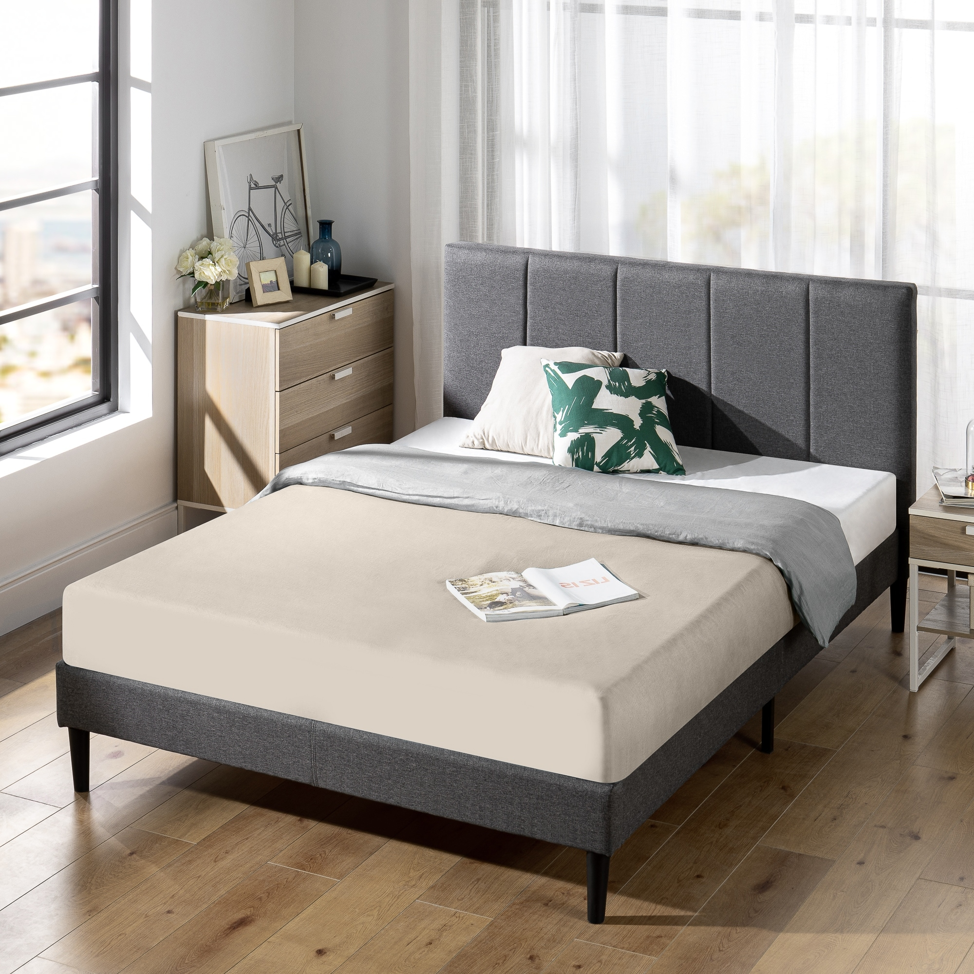 Priage By Zinus Upholstered Low Headboard Platform Bed Frame Overstock 32006948