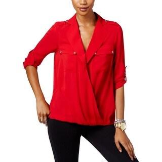 MICHAEL Michael Kors Womens Petites Blouse Wear To Work Long Sleeves - PM