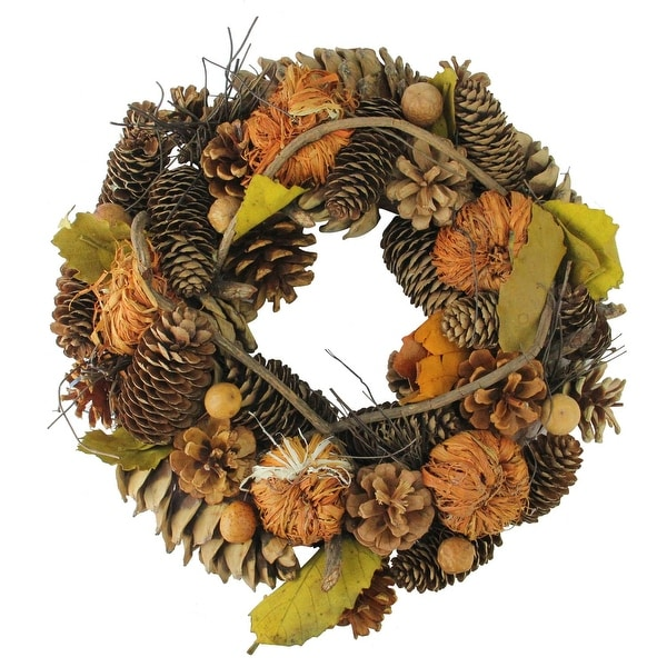 """13.25"""" Autumn Harvest Pine Cones and Gourds Artificial Thanksgiving Wreath - Unlit - brown"""