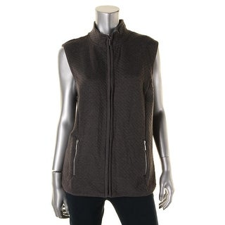 Karen Scott Womens Quilted Zipper Casual Vest - L