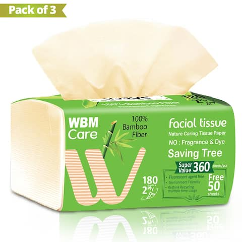 WBM Care Bamboo Facial Tissue-2 Ply-180 G Tissues Per Box Pack of 3 - Brown - 180 G