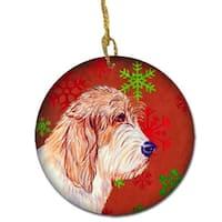 Petit Basset Griffon Vendeen Red Snowflake Holiday Christmas
