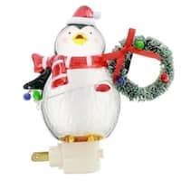"6"" Penguin Night-lite W/wreath Color Xmas Lights Swivel Plug"