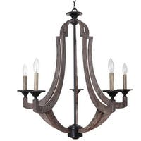 Craftmade 35125 Winton Single Tier 5 Light Candle Style Chandelier - 29.5 Inches Wide - weathered pine