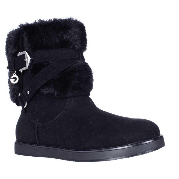 G by GUESS Alixa Fuzzy Lined Pull On Short Winter Boots, Black Multi