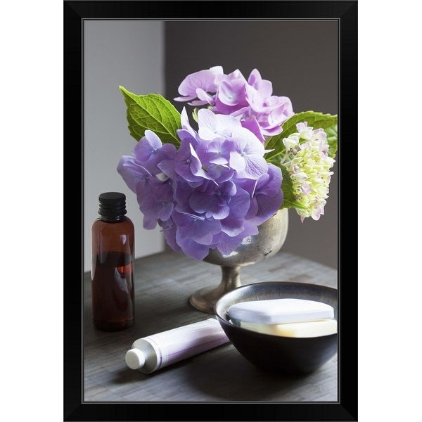 """""""Bathing Products and Hydrangeas on Table"""" Black Framed Print"""