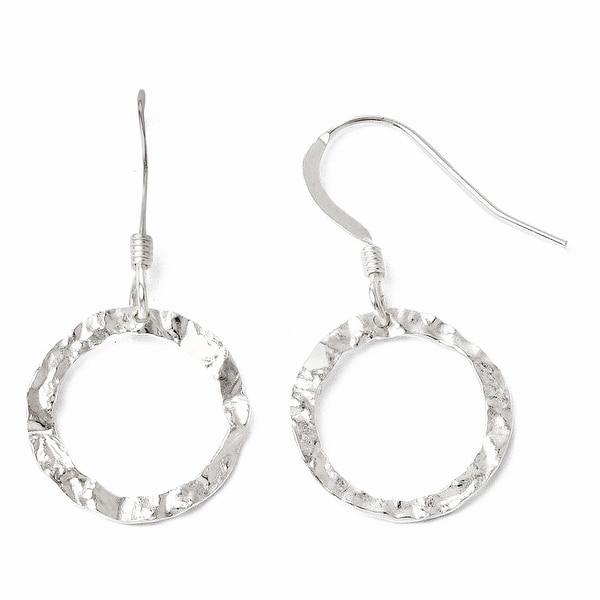 Sterling Silver Textured Shepherd Hook Dangle Earrings