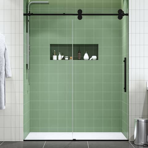 """FELYL 56-60"""" W x 76"""" H Single Sliding Frameless Shower Door with Heat Soaking Process and Protective Coating Clear Glass"""