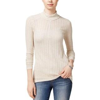 Lucky Brand Womens Turtleneck Top Linen Blend Hi-Low